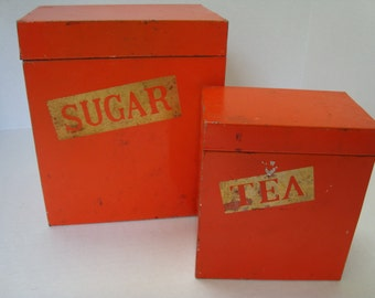 Vintage Tin Sugar and Tea Canisters