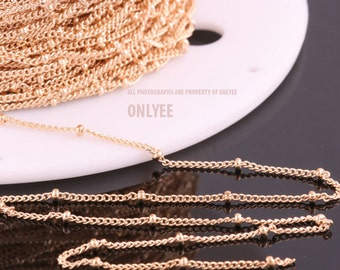 1yd-2mm(Ball)X0.8mmBright Gold plated Brass Ball Chain For  necklace chain, link chains  (N140G)