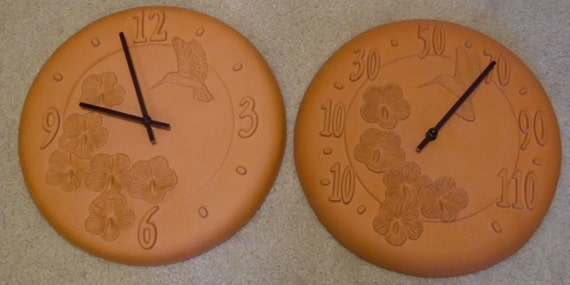 Opus Terra Cotta Clock And Thermometer Inside Outside With