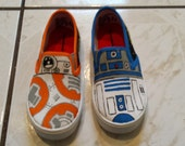 Star Wars Hand Painted Canvas Shoes  Fan Art Tribute R2D2 BB-8 Order your custom size kids to Adult