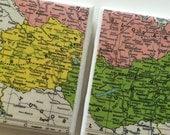 RESERVED FOR KARIN - 1961 Austria & Hungary Map Handmade Vintage Map Coasters - Ceramic Set of 2 - Repurposed 1960s Hammond Atlas