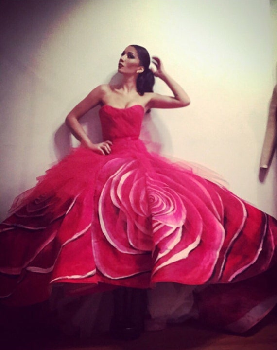 """IRINA SHABAYEVA COUTURE hand painted """"Red rose gown"""" also comes in black rose , pink rose , blue rose and other custom colors"""