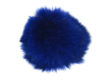 Detachable royal blue fox pom pom