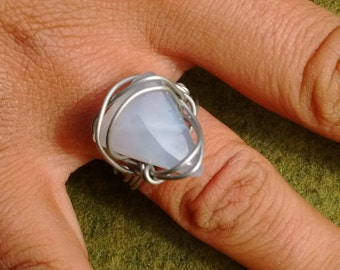 blue chalcedony wire wrapped ring handmade blue chalcedony jewelry, silver wire wrapped blue chalcedony ring handmade wire wrap