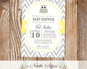 Gray and Light Butter Yellow Owl Chevron Baby Shower or Birthday Invitation - colors can be changed