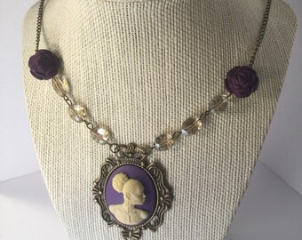 Purple Vintage Cameo Necklace/Free Shipping