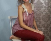 Tank top woman in silk and linen with a lace bow. 01516