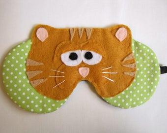 Cute Cat Face Sleep Mask, Orange Tabby Cat Sleep Mask, Adjustable Kitty Sleep Mask, Kitty Cat sleep mask