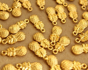 15 pc. Gold Pineapple Charms, 19.5mm x 9mm | MIS-060