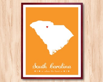 South Carolina State map, US State map, Map Art, Custom Map, Personalized Map, Wedding gift, Nursery room, Birth announcement