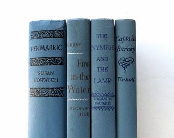 Slate Blue Vintage Books / Book Decor / Book Bundle / Instant Library / Wedding Decor / Interior Design / Cottage Decor / Decorative Books