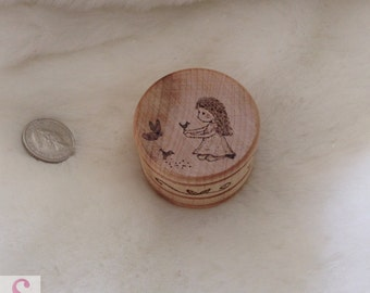 wooden pot handrawn picture ornament little girl bird wood burning pyrography art forest scene natural home decor rustic drawing mini gift