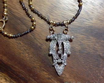 Vintage Assemblage Necklace Repurposed Art Deco Art Nouveau Dress Clip Rhinestones Czech Glass & Gold Beads One-of-a-kind WishAnWearJewelry
