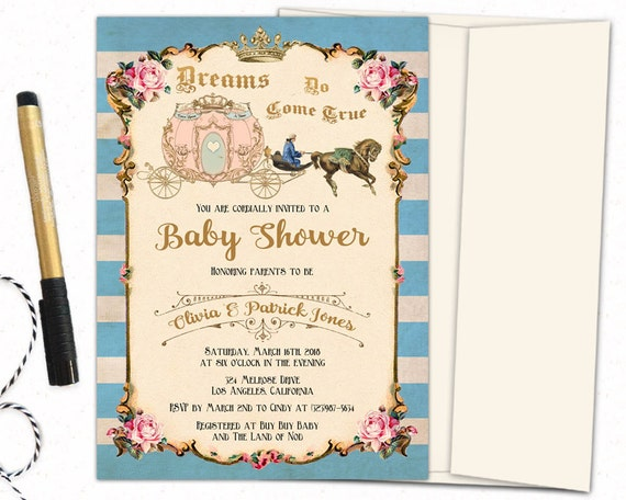 once upon a time baby shower invitation cinderella baby shower