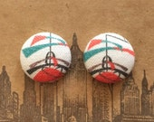 Button Earrings / Wholesale Jewelry / Fabric Covered / Retro Print / Studs / Gifts for Her / Birthday Present / Bulk Order