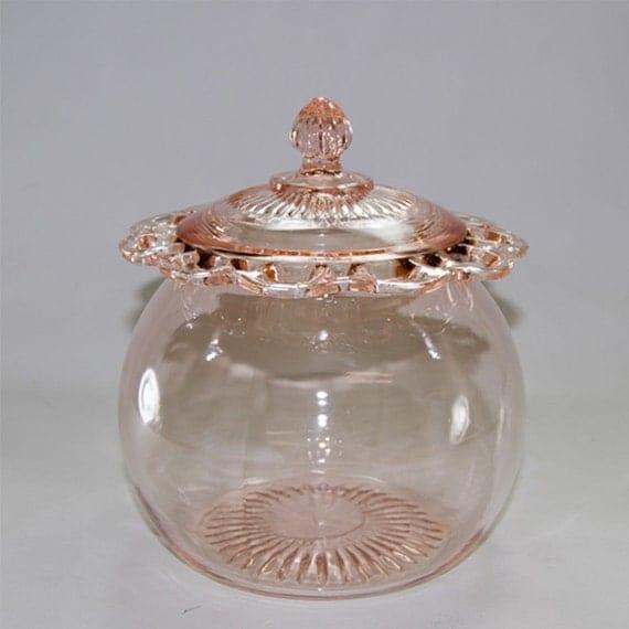 Hocking Pink Depression Glass Cookie Jar