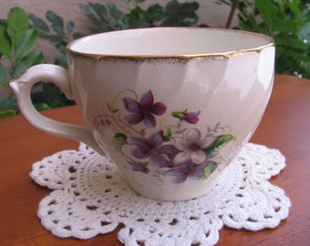 Vintage Royal Crown Staffordshire England Tea Cup Fine Bone China with Violets Pattern CRS 170