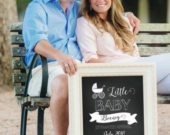 Chalkboard Pregnancy Announcement. Expecting a new bundle Sign. {PRINT & SHIP} Pregnancy Announcement decor
