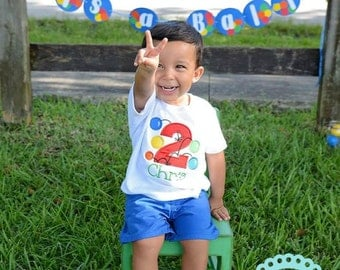 Bouncy Ball BIRTHDAY Personalized T-Shirt, ball pit party, bouncy house party, boys first birthday, toddler boy birthday, photo prop