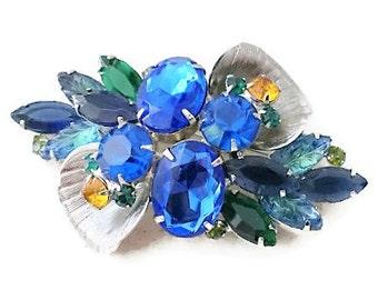 Vintage Blue Green Topaz Molded Glass Stone Brooch & Clip on Earring Set