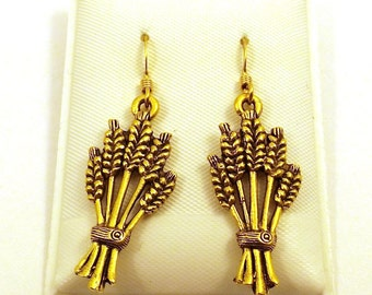 Gold Toned Wheat Sheath Charms  on Gold Filled Dangle Earrings - 5516