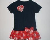 Baby Girls To Teens Navy BOSTON RED SOX  Tshirt Dress Infant Toddlers School Game Day Baseball Dresses//Select Tab Below 4 Size