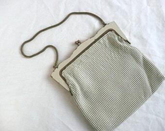 Vintage mesh evening purse - Oroton White Glomesh purse - vintage white mesh evening purse - mid century Oroton evening purse