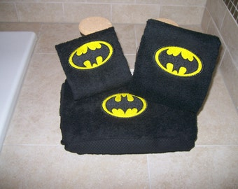 Batman 3 Piece Embroideres Towel Set- Personalized Bath,Hand,Wash Cloth