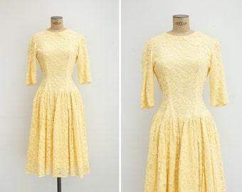 1950s Dress - Vintage 50s Yellow Lace Dress - Retama Dress