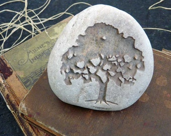 Silhouette Tree of Life Paperweight Stone With Custom Message Option On The Bottom