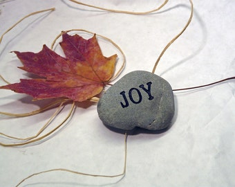 Joy Small Engraved Paperweight Stone