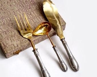 Italian Silver 800 Serving Set Boxed , Silver Flatware Set,Art Nouveau Italian Serving Utensil,Wedding Cutlery Silver Set