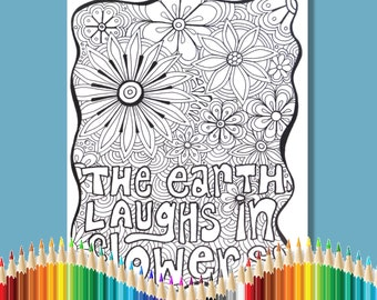 Coloring Pages for Adults The Earth Laughs in Flowers Instant Download