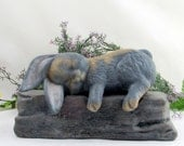Custom  - Ceramic Engraved Painted Bottom Loading Lop Eared Rabbit or Bunny Cremation Urn - hand made pet urn