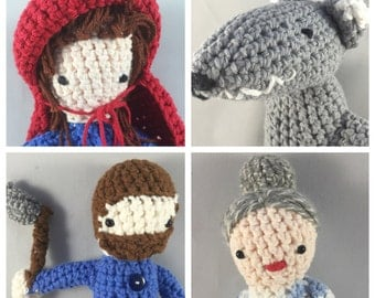 Little Red Riding Hood Gift Set - Grandma,  Huntsman with Ax, Big Bad Wolf - Amigurumi Stuffed Toy Set - Baby Shower Gift - Crochet Gift Set