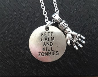Keep Calm and Kill Zombies Necklace, Living Dead, Brains, Zombie Apocalypse