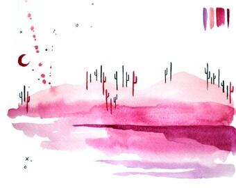 Desert Art. Desert Sunset. Arizona Art. Desert Night Sky. Arizona Desert Art. Pink Wall Art Bohemian Watercolor. Boho Art. Bohemian Art.