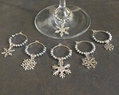 Snowflake Wine Charms, Christmas Theme, Winter Theme Gift, Crystal Wine Charms, Silver Wine Charms, Hostess Gift, Party Favour  1245W