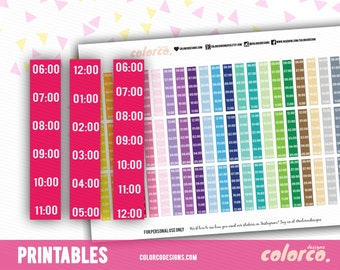 TIMELINE/ HOURLY sidebar - am/pm Printable Planner Stickers Erin Condren Inkwell Plum Paper Instant Digital Download