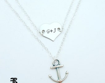 Anchor Necklace, Silver Anchor, Layered Necklaces, Minimalist Jewelry, Nautical Necklace, Boating Gifts, Boat Necklace, BFF gifts, bestie