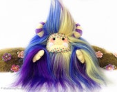 "Yeti artist bear, faux fur rainbow blue, purple and yellow monster plush, space monster toy, collectible toy, art doll, handmade  ""Cosmos"""