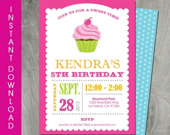 Cupcake Birthday Invitation, 5x7, Self Editable, Instant Download, Party Printable, Personalized, Diy, Girls Party, Backside Included
