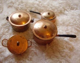 Dollhouse Miniature Copper Pots & Pans