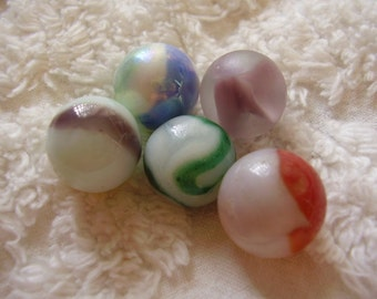 Vintage Milk Glass Swirl Marbles