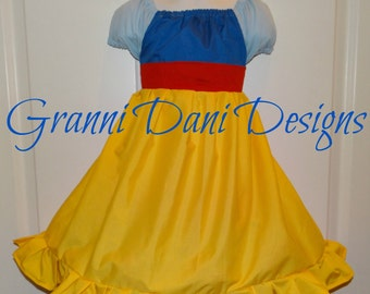 snow white  inspired peasant twirl dress 6 12 18 24 months 2t 3t 4t 5t  baby toddler girl princess everyday blue light blue yellow red
