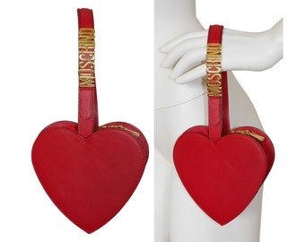 MOSCHINO by Redwall 1990s Vintage Heart Bag Evening Handbag Wristlet Purse Red Leather Signature Letters