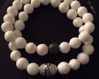 8mm White Shell & Silver/Black Pavé Beaded Bracelet