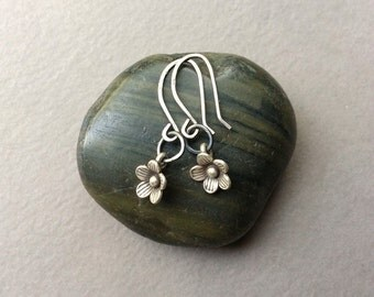 Flower Dangle Earrings, Sterling Silver Charms, Sterling Silver Ear Wires, Boho Chic, Simple Modern Style, Gift Giving Idea, TamiLopezDesign