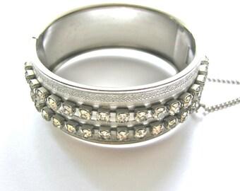 Vintage Rhinestones Wide Silver Clamper Bracelet  1960s Mid Century Modern Style Wedding Bridal