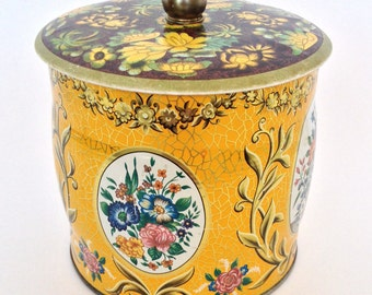 Vintage Tea Tin Fall Floral Fabulous, Storage Container, Collectible,Home Decor Designed by Daher made in England Clean